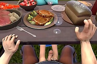 Anna gives a sweet footjob under the table