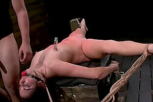 Tied up spread babe throat and pussy fucked