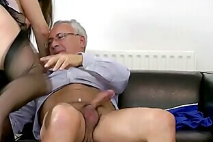 Teen amateur in trio with old man getting fucked