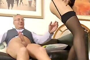 Teen and old guy fuck and cumshot
