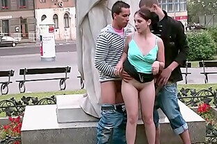PUBLIC street sex teens GANG BANG  by a famous statue PART 6
