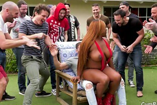 BBW ebony Jayden Starr gets countless loads on her face outdoors