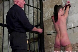 Merciless whipping of struggling amateur slave