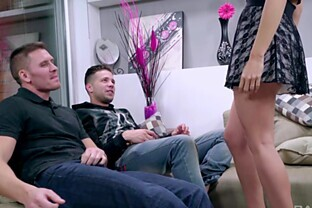 Brunette whore Carolina Abril rides one guy and blows another in heels