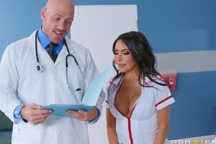 Curvy nurse fucked by the doctor with a patient watching