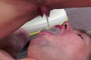 Nasty chick pisses in the cuckolds mouth before fucking BBC