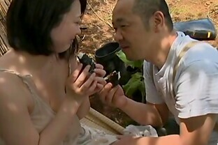 Mature Japanese couple have ardent sex instead of a picnic