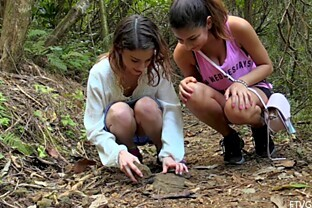 Nina and Kristen always liked getting naughty in the wilderness