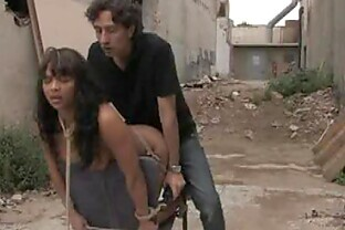 Tied Up Ebony Gets an Interracial Anal Fuck Outdoors In Public