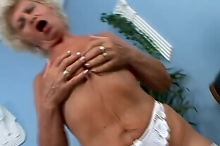 Blonde grannie Effie blows before taking the cock in her ugly old cunt