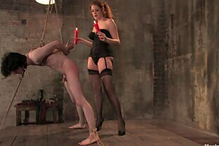 Kinky Redhead Beauty Torturing a Guy with Wax Before Pegging