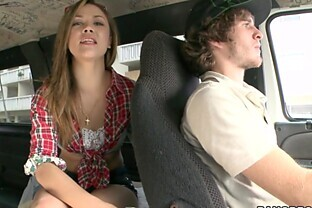Hot chick gives head and fucks dude in the backseat