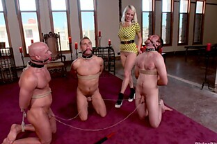 Mature dominatrix tortures three guys