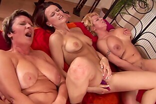 Three horny big titty mature dykes