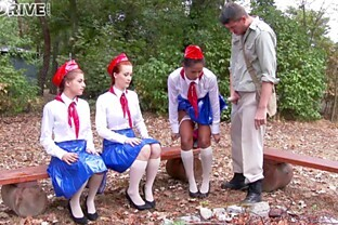 Adorable girl scouts take turns on a hard cock in a wild foursome