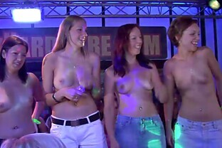 Sexy Babes Show Their Breasts At A Party
