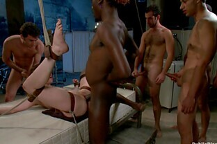 Bitch tied up and fucked by many studs
