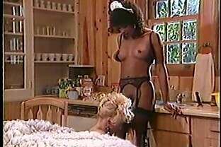 Ambitious ebony lesbian in stocking getting her pussy licked in reality shoot