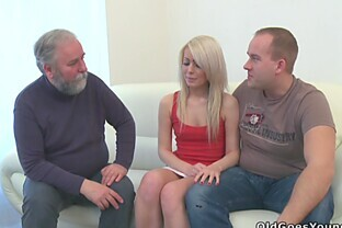 Couple has threesome with old man