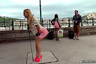 Busty blonde butt plugged in public