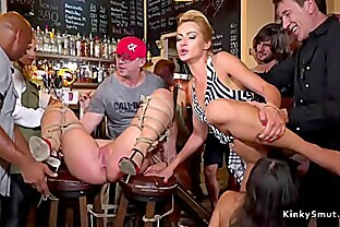 Mistress and slave anal fucking in public