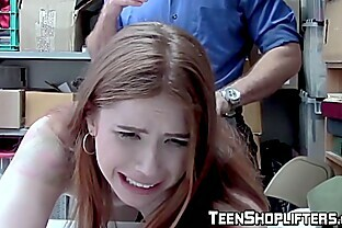 Redhead teen suspect is strip searched and fucked by a guard