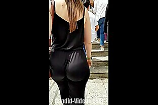 Amazing big candid jiggly ass in soft satin bodysuit pants